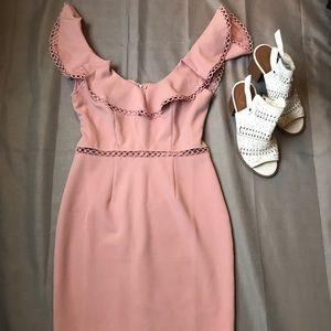 Pink Fitted Cut-Out Dress